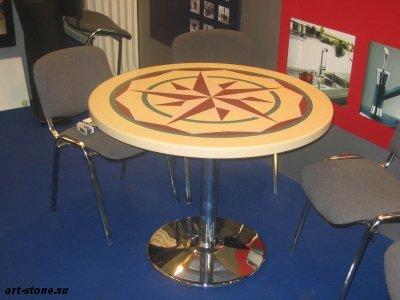 Журнальный столик круглой формы из искусственного камня