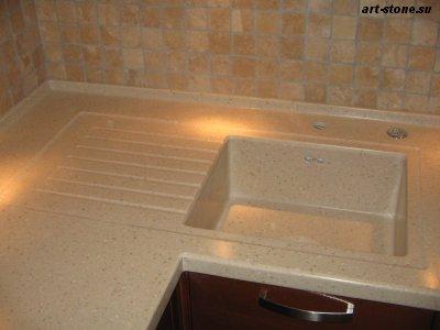 Кухонная мойка с утопленным крылом из искусственного камня Polystone